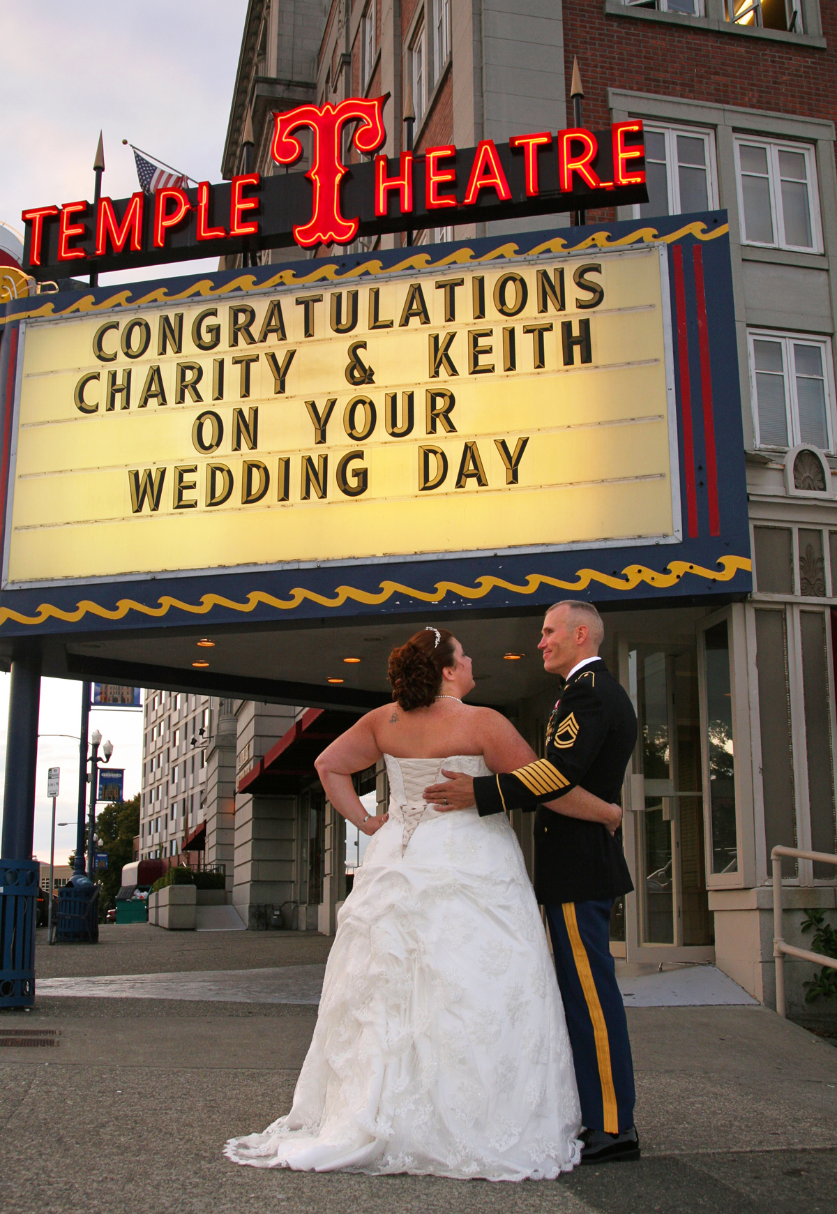 Wedding photo outside of Temple Theatre