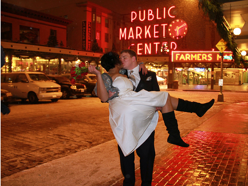Wedding portrait at Pike Place Market in Seattle