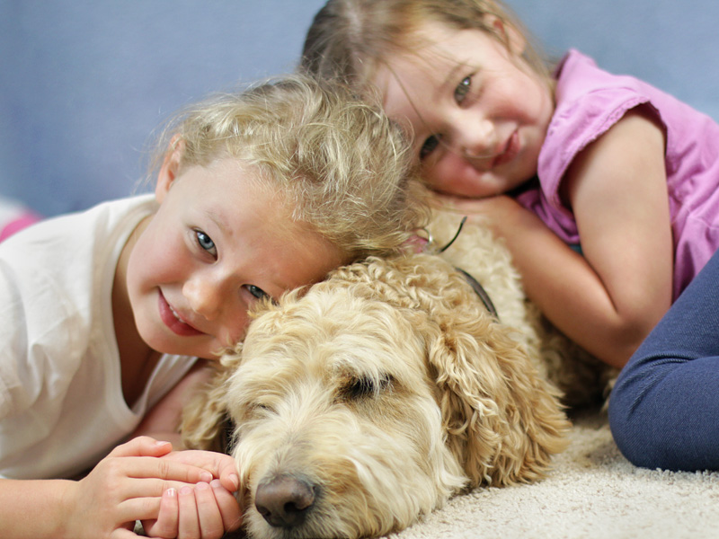 Children and dog portrait