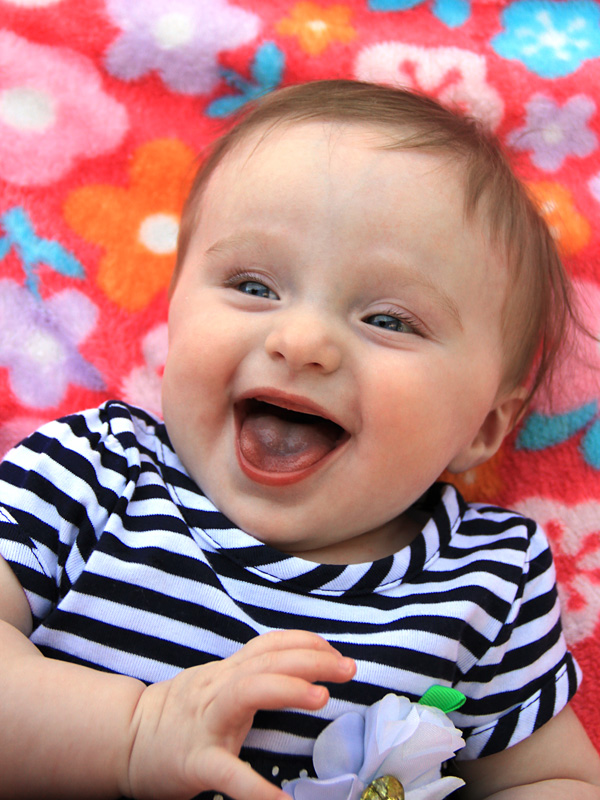 Baby laughing portrait