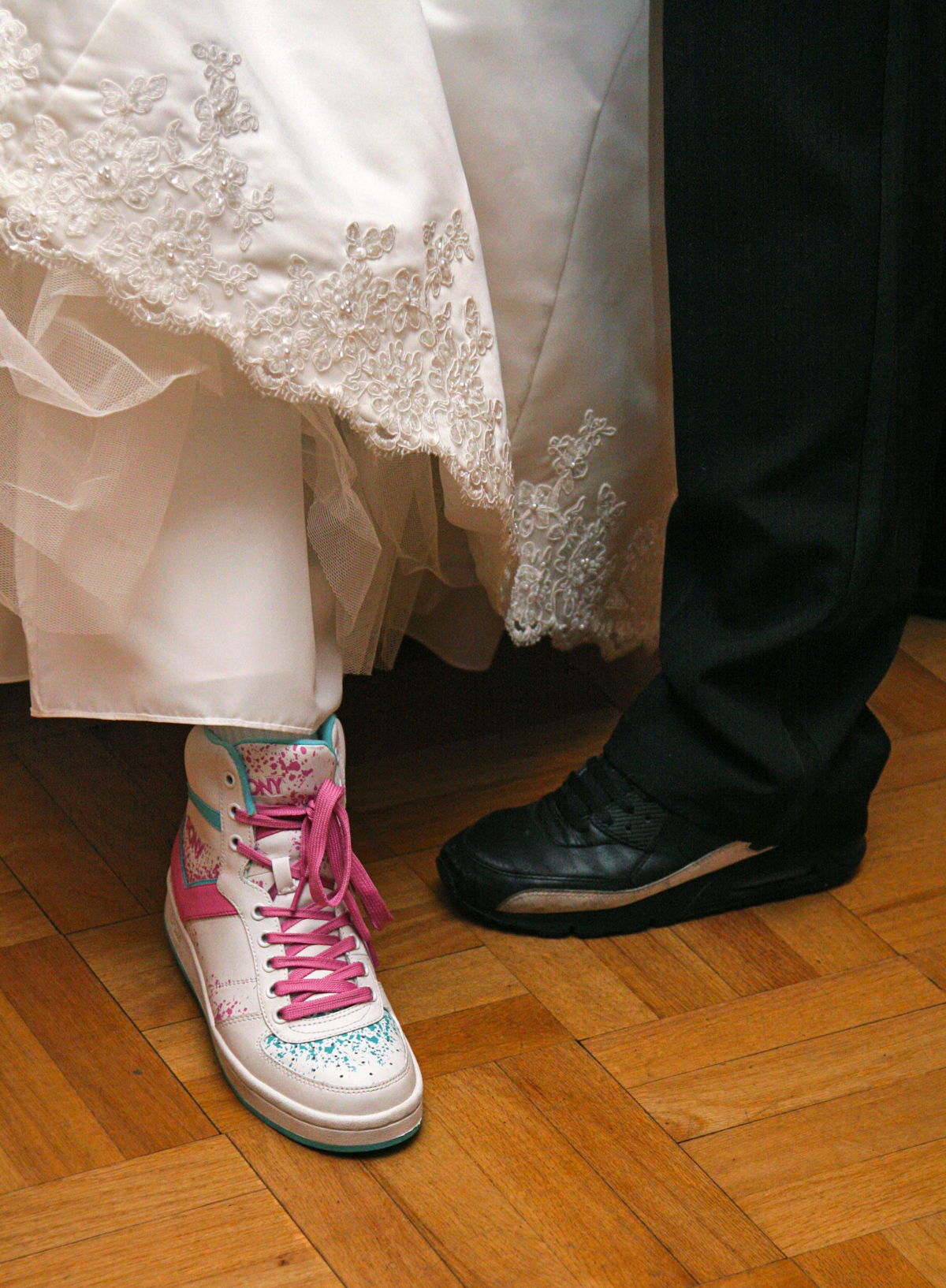 Bride and groom dancing shoes